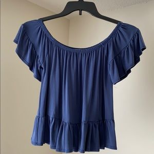 Dusty blue top with ruffles